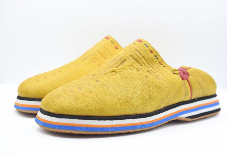 Moroccan leather slippers, sheepskin mens Berber slippers, babouche Moroccan leather slippers for men