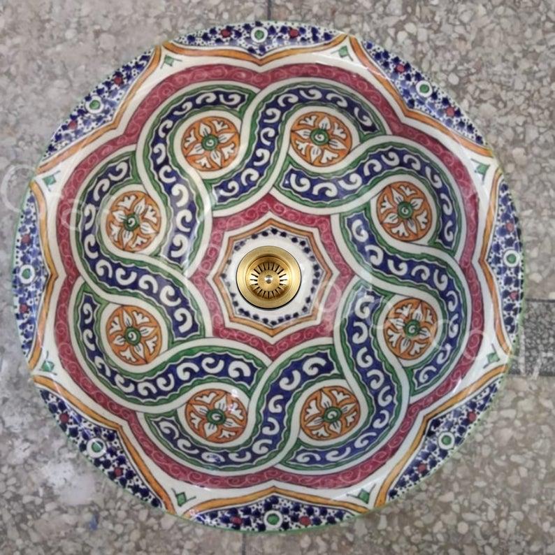Sink Moroccan Round Hand Wash Bathroom Basin Ceramic Handmade Washbasin