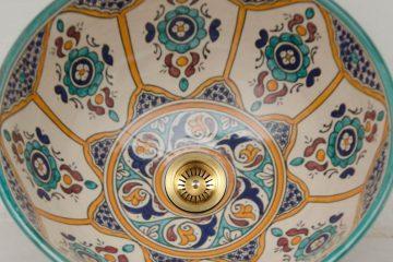 Sink Moroccan Round Hand Wash Bathroom Basin Ceramic Handmade Washbasin ,25 to 45 cm