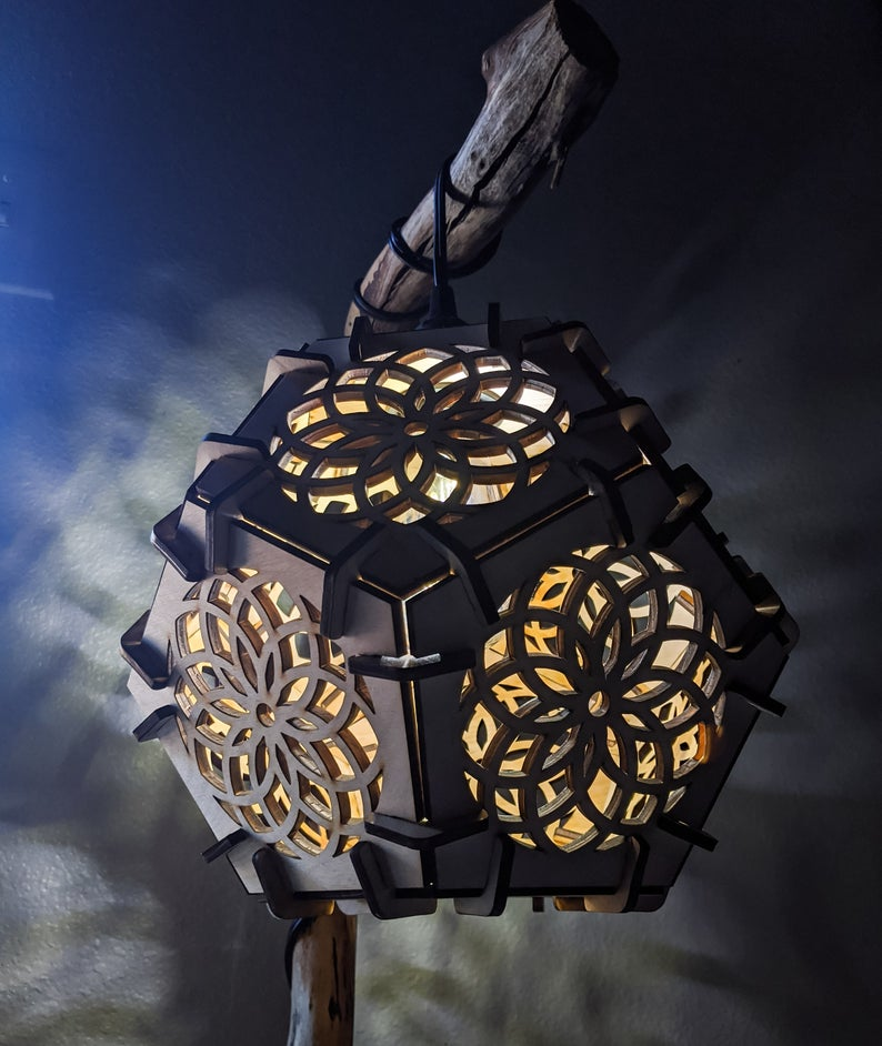 Sacred Geometry Lamp, Mandala Pendant Lamp Home Décor, Dodecahedron, Dodecahedron lamp, Geometric, Yoga, Light, Moroccan, Modern, Vintage