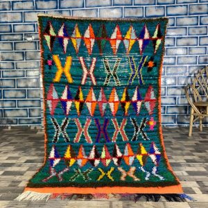 Moroccan Boucherouite Rug 3.8X6.3 FT - Area Colorful Rug, Berber Carpet, Tapis Berbere Vintage, Boho Carpet, Vintage Rug, Handmade Rug