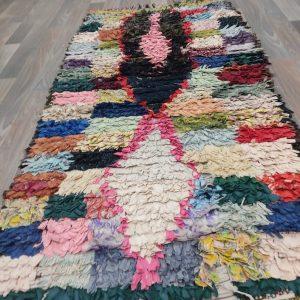 Moroccan vintage boucherouite rug 3 x 5 ft!