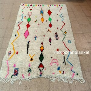 Moroccan rugs- Authentic Moroccan Rug- Large Moroccan Rug- White with different colors Rug- Custom rug Custom Beni Ourain rug- Beni Rug-