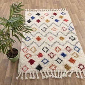 White Wool Boho Moroccan Azizal Beni Ourain Rug, Bohemian Decor, Scandivanian Nordic Style#1518 MD-31