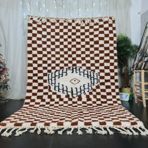 Checkered Beniourain Rug - Tribal Area Rug - Moroccan Woven Rug - Beni Ourain Rug - Wool Area Rug - Living Room Decor - Abstract Carpet.