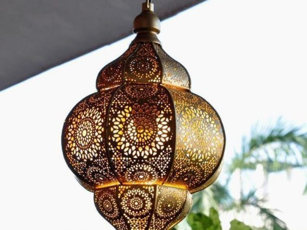 "8x14"" Antique Look Modern Turkish Hanging Oriental Arabian Golden Moroccan Lamps Ceiling Lights Home Lantern Gift Lamp"