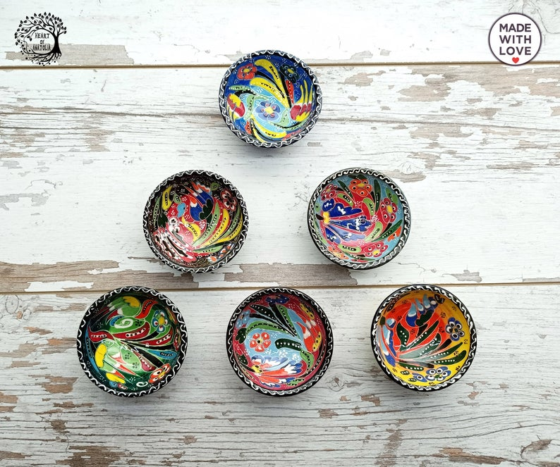 6pcs Small Ceramic Handmade-Painted Bowls Breakfast Set Sauce Appetizer Tapas, Snack, Turkish - Moroccan Colorful Serving Pottery Decor Gift