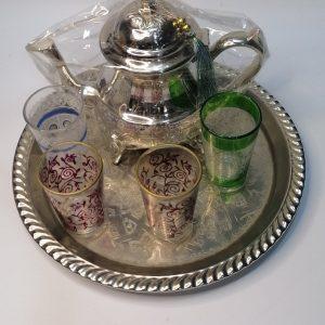 Tea Set of 6 vintage Moroccan tea glasses, Multi-plan hand tailored style cups, Teapot, Trays, cobalt tea glasses, vintage tea glasses