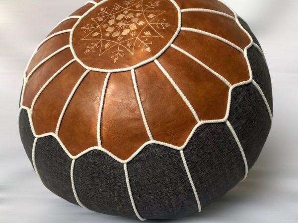 Boho Rattan Moroccan pouf- Vegan leather- bohemian living room decor- ottoman footstool- round & large pouf- unstuffed