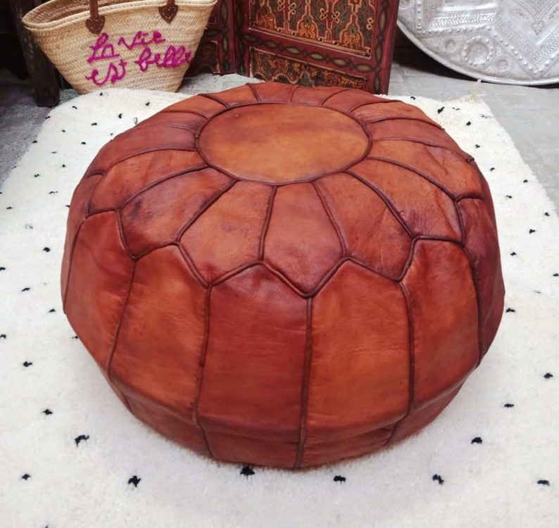 Vintage Moroccan leather pouf, ottoman leather pouf, Berber pouf, tan leather pouf, handmade leather pouf, home decor