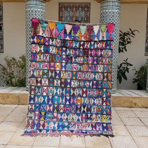 c boucherouite carpet, carpet azilal, Moroccan Vintage Boucherouite Rug 180x134 cm , Moroccan rug, Berber Rug