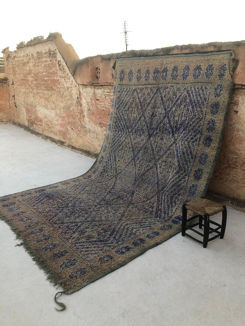 Moroccan Beni Mguild Carpets | Vintage Beni Mguild Moroccan Rug | Beni Mguild Rug Blue