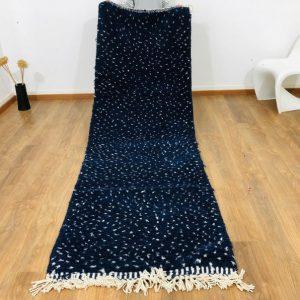 Custom Beni Ourain Rug, Beniourain rug, Navy Blue Wool & White Dots Runner, Scandinavian Rug, Mid-Century Rug, Midcentury Decor