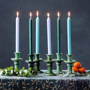 Unique 4 Handcrafted Tamegroute Green Glazed Pottery, moroccan bougeoir Tamegroute ,handmade green candle, delivery via DHL Express