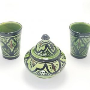 Two Moroccan Pottery Cups/Mugs with its Matching Cookie/Candy Jar, Handcrafted and Painted in Marrakech
