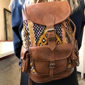 Moroccan leather kilim backpack carpet bag Kilim backpack