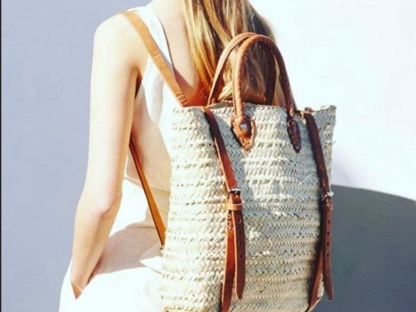 Straw Beach bag with leather strap   handmade palm neck moroccan backpack, minimalist straw backpacks gift - Boho straw purse gift for girls