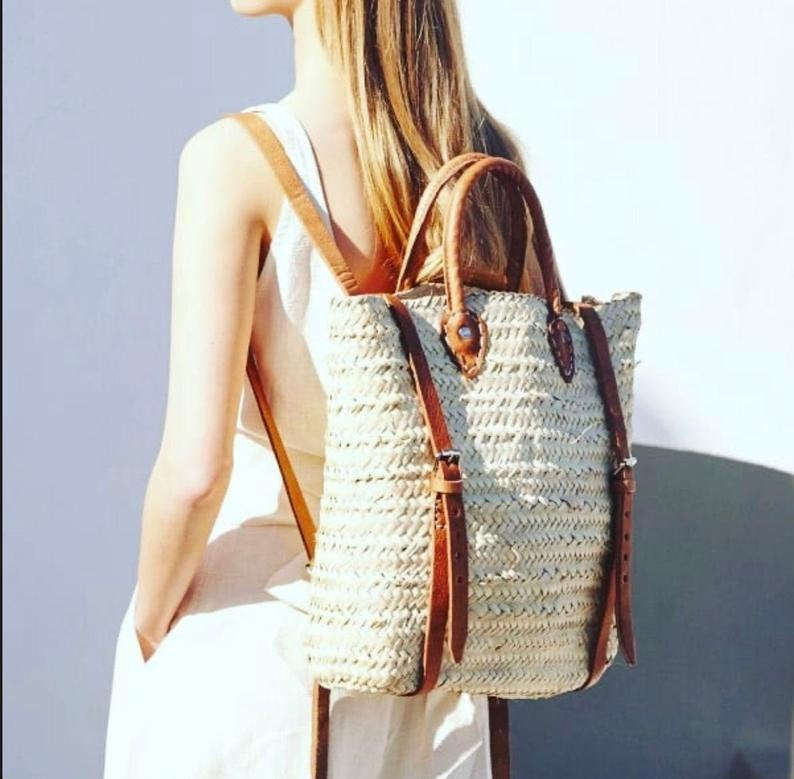 Straw Beach bag with leather strap | handmade palm neck moroccan backpack, minimalist straw backpacks gift - Boho straw purse gift for girls