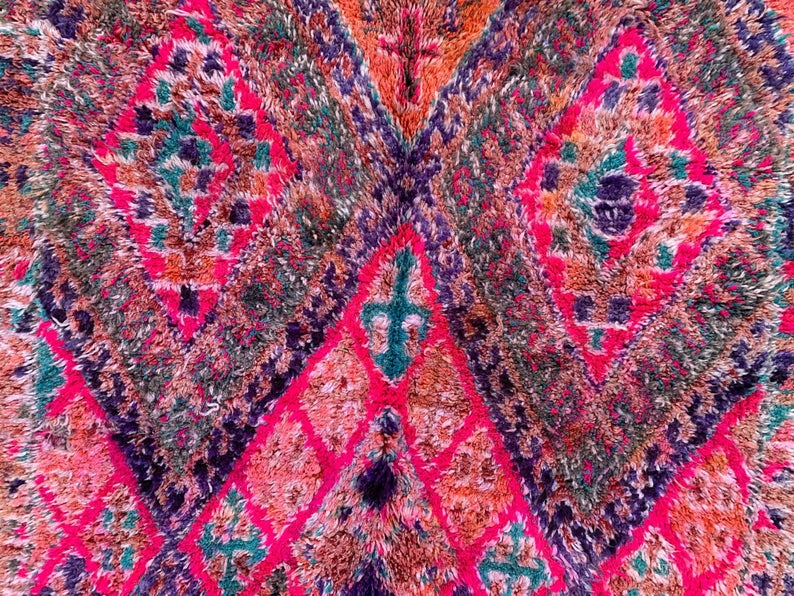 Vintage Moroccan 5.5 FT x 11.0 FT Beni mguild - Area Rug - Antique Morocco Carpet - Ethnic Old Berber Rug - Handmade North African Rug 5x11