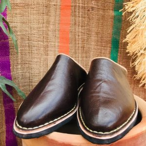 Chocolate Brown Organic LEATHER SLIPPERS,MOROCCO Shoe,Comfortable Leather Mule for Men & women Extra Souple babouche Handcrafted Craftsmen