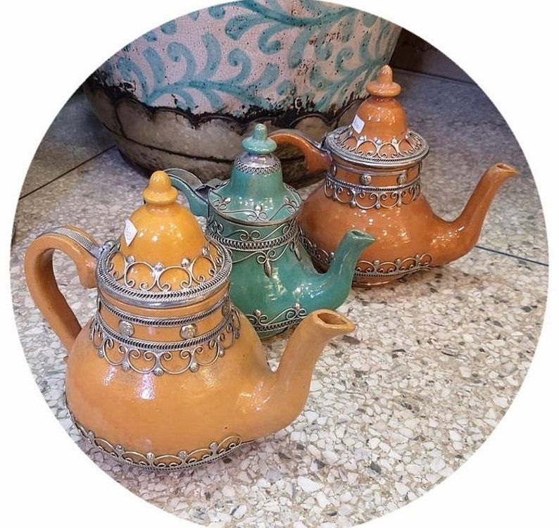 Stunning Moroccan teapot, Moroccan art, handmade Morocco art, Moroccan pottery, Moroccan deco, shabby chic, ideal gift to tea lovers