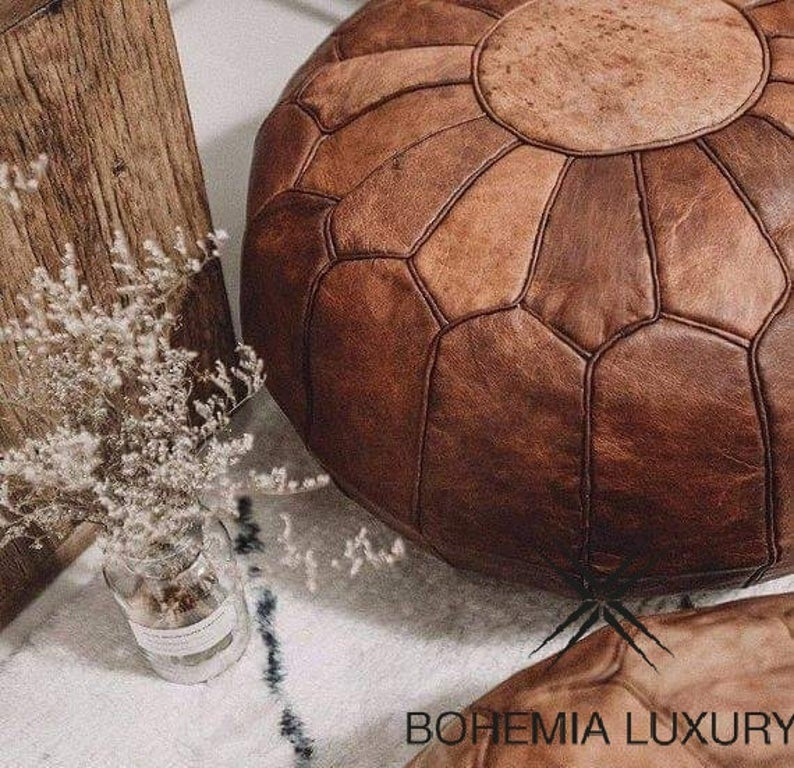 Moroccan Pouf 100% Leather, hight Quality Ottoman Ottoman pouff stool, Footstool,