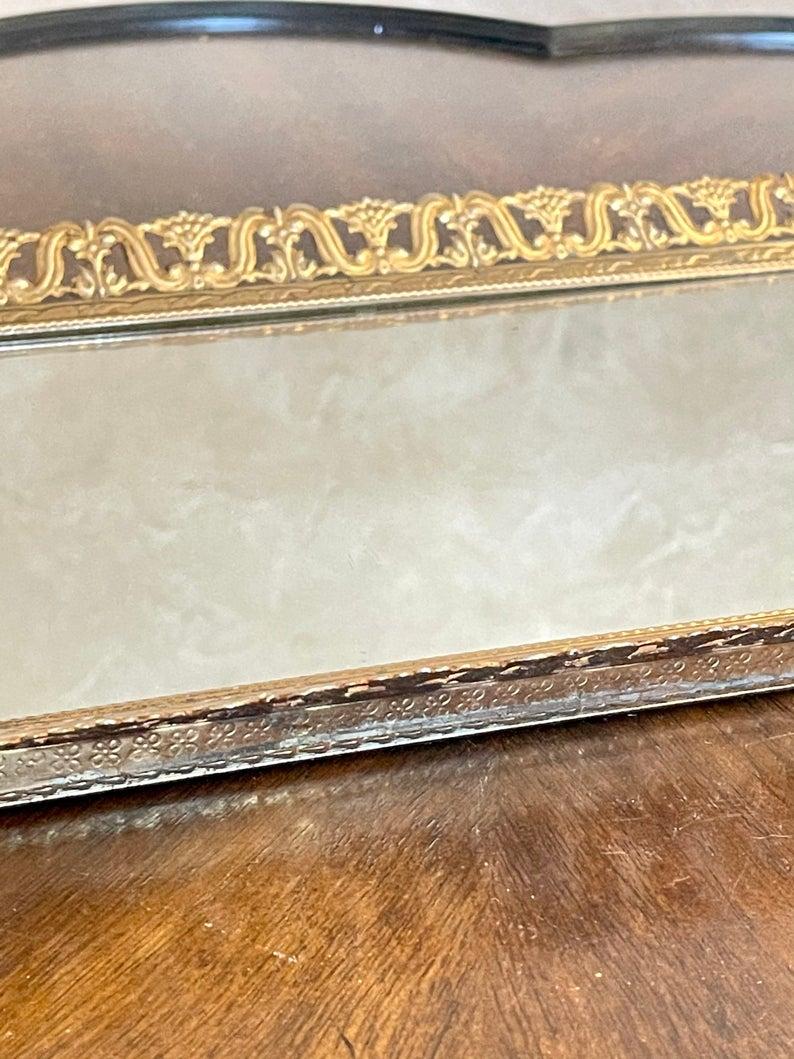 "Large 15"" Vintage Brass Filigree Vanity/Dresser Mirror Tray"