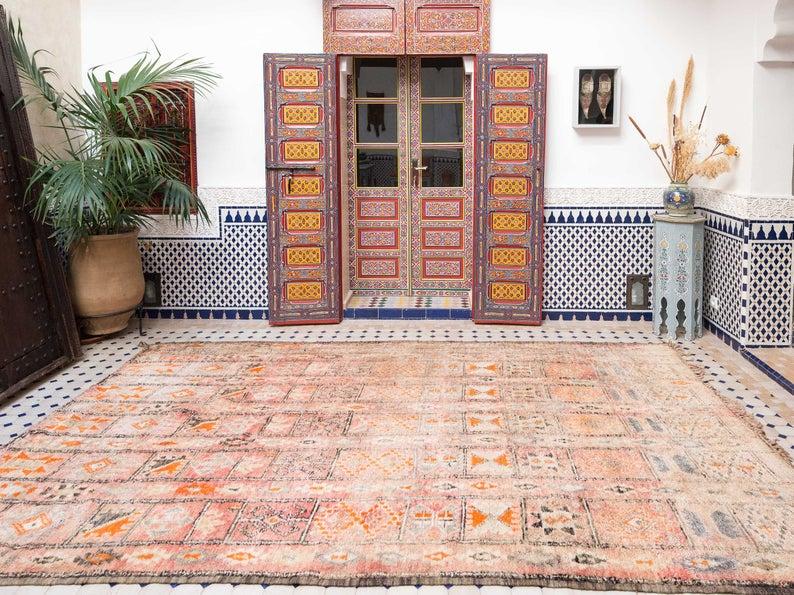Vintage Beni Mguild Moroccan Rug   Handmade Beni Mguild Area Rug   Beni Ourain Rug