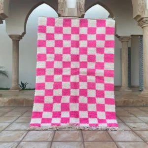 vintage checkerboard moroccan rug