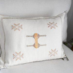 Moroccan Cactus Silk Beige Lumbar Pillow Cover-Handmade-Handwoven Moroccan Boho Pillow Cover | Moroccan Pillow Case | Tribal Pillow Case