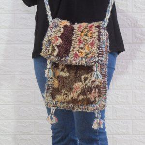Multi-coloured bag, berber wool rug bag - vintage kilim wool bag - cross-body bag - shoulder bag - moroccan bag - handmade bag free shipping