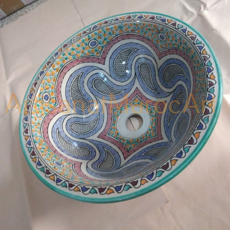 Round Moroccan ceramic sink for bathroom and kitchen-brass faucet for bathroom-vessel wash basin
