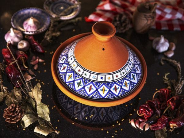 Large Blue Handmade, Hand-painted Tagine, Kamsah Cooking Pot, Easter, Mother's Day, Thanksgiving, Christmas gifts