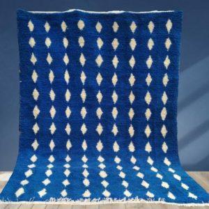 Blue Moroccan rug Beni Ourain rug, handmade 100% wool rug, custom moroccan wool rug, berber carpet, handmade wool rug