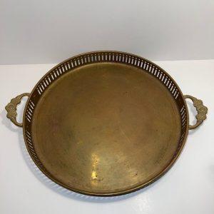 Vintage Round Brass Serving Tray, Brass Serving Tray, Serving Tray, Round Serving Tray,