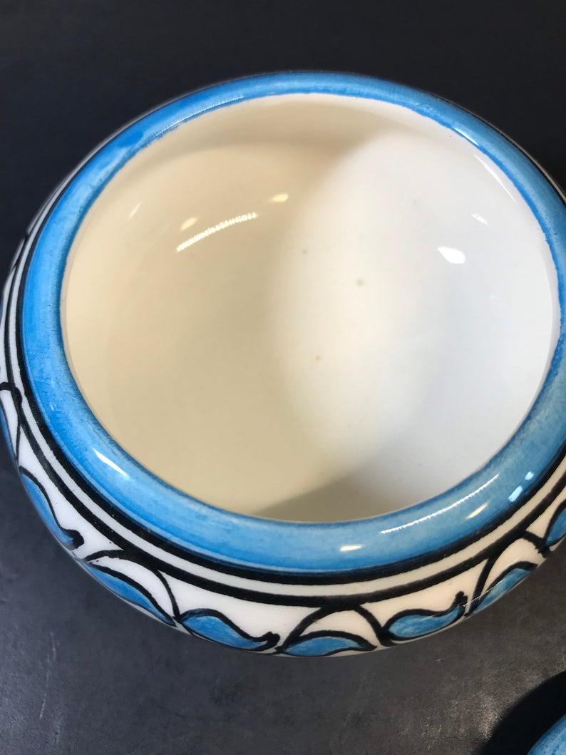 Vinatge Fes Naji Moroccan Pottery Small Trinket Dish Blue White Geometric 1990's Ceramic Handmade Hand Painted