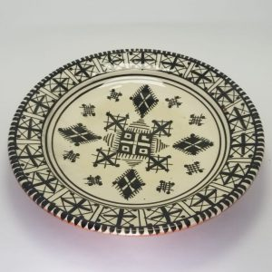 Moroccan Pottery Plate, Handcrafted and Painted in Morocco, Black Berber Patterns