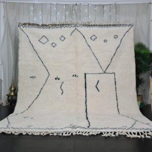 Berber Beni Ourain Rug , Handmade Rug, Moroccan Rug, Abstract White Rug, Beniourain Rug, Wool Rug, Plush Scandinavian Carpet, Bohemian rug