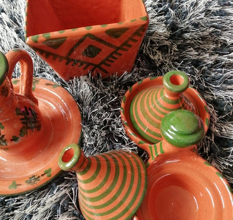Set of 3 Small Moroccan Ceramic Painted DECOR | Berbere Traditional Décor | Handmade Dish Decor Shaped Storage
