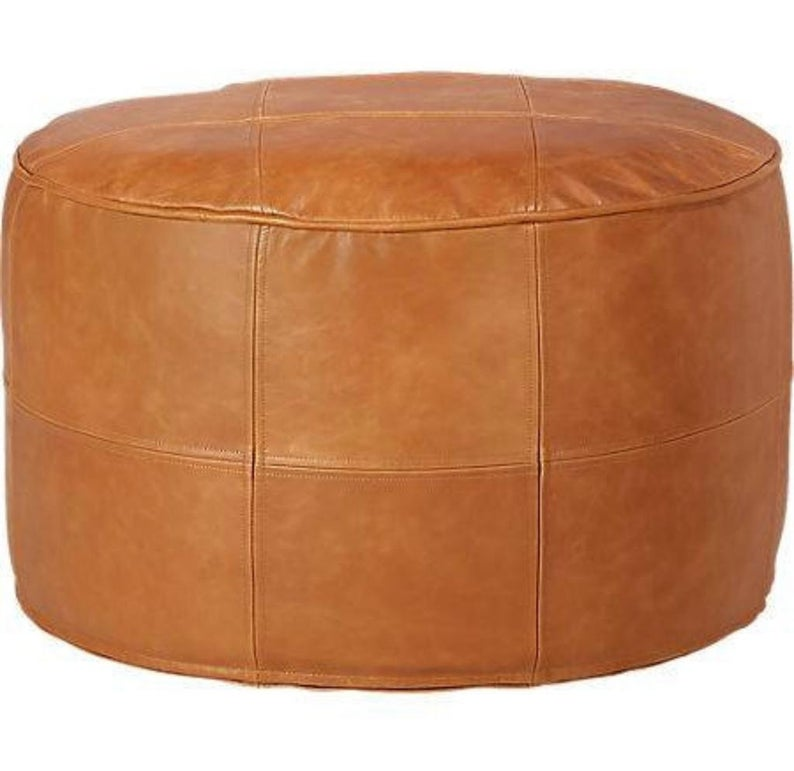 Moroccan Round Leather Pouf Cover Handmade , Round Leather Pouf Tan , Unstuffed Pouf ,Poufs Footstool, luxury ottomans footstools