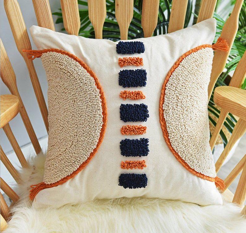 Morocco Woven Cotton Tassel Throw Pillow Covers Boho Decor Tufted Cushion Cover