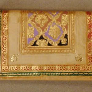 MOROCCAN LEATHER, WALLET, Trees Cartouches design, gold beige black, app 6 x 3 3/4 x 3/4 in, mint condition , Or 22 Carats