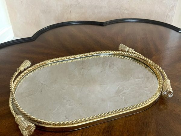 "Vintage Brass Ormolu Oval 13.5"" Mirrored Dresser Tray; Brass Rope Mirror Vanity Tray"