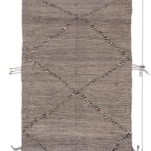 ZANAFI berber Hanbel/ Tribal Moroccan carpet/Flat Berber Wool Rug/Black, Gray,Brown Carpet/Tapis Marocain/Lightweight KILIM