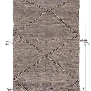 ZANAFI berber Hanbel/ Tribal Moroccan carpet/Flat Berber Wool Rug/Black, Gray,Brown Carpet/Tapis Marocain/Lightweight KILIM