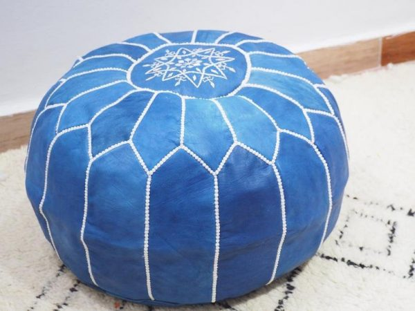Moroccan leather, Ottoman Pouf, Natural Tan Color Pouffe unstuffed Footstool, Boho Moroccan blue POUF with White Stitching