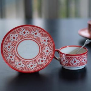 Pottery coffee/tea cup with saucer, Moroccan Handmade pottery, hand painted with berber motifs