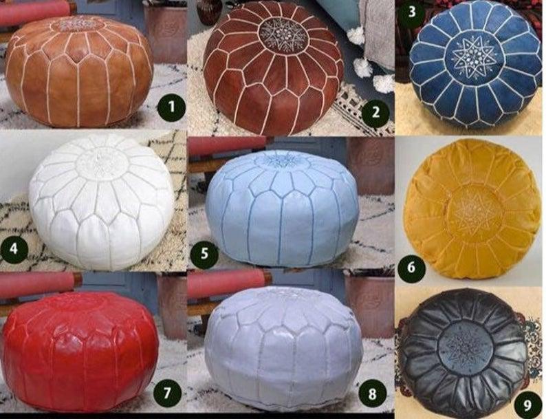 Moroccan leather pouf Moroccan pouf leather ottoman pouffes ottoman pouf handmade pouf footstool