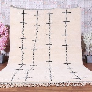 Beni ourain rug - Hand knotted Moroccan rug - Wool berber rug - Custom size rug - Moroccan area rug -White Handmade rug