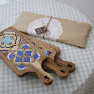 Rustic Rectangle Bread Board with Moroccan Ceramic Tiles